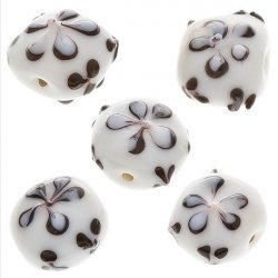 Black Flower Design Puff Square Glass Beads 16x9mm PK5