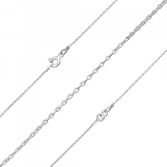 D41//6 Finished Connector Chain 18 Inch Rhodium Plated Sterling Silver 925
