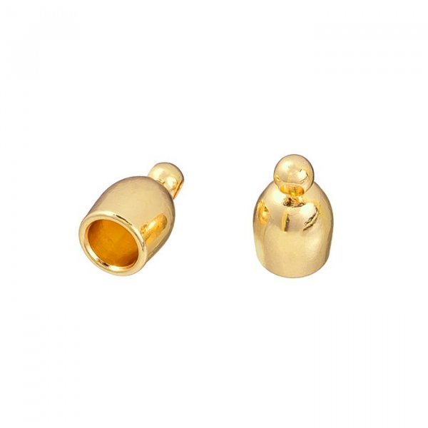 Gold Plated Kumihimo Finding Bullet Style End Cap 4mm