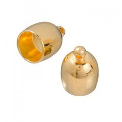 Large Gold Plated Bullet Kumihimo Cord End Cap 8mm PK2