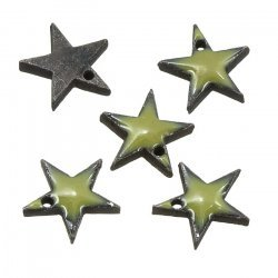 Green Enamelled Antique Silver Metal Star Charm Pendant