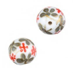 Hand Painted Round Glass Beads (Red Flower Design) 14mm