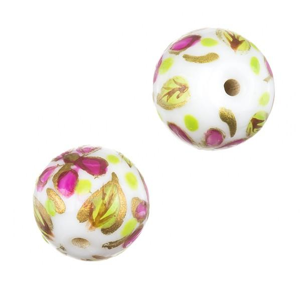 Hand Painted Round Violet Green Flower Glass Beads PK2