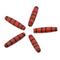 Red Bone Ethnic Hairpipe Tube Bead With Black Stripes 24x5mm PK5