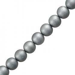 """12mm Round Spray Painted Silver Crackle Glass Beads 15"""""""