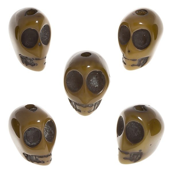 Brown Acrylic Resin Gothic 3D Skull Beads 13x16mm PK5