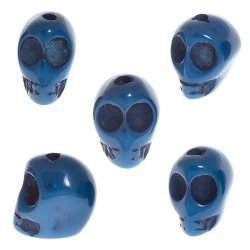 Blue Acrylic Resin 3D Gothic Skull Beads 16X15mm PK5