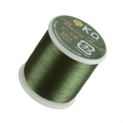 KO Dark Olive Japanese Nylon Beading Thread 50m Reel