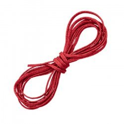Waxed Polyester 1mm Flat Red Macrame Bead Cord 1metre