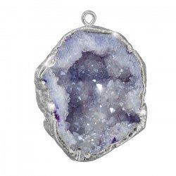 Druzy Geode Purple Dropper Pendant Silver Plated - 30mm