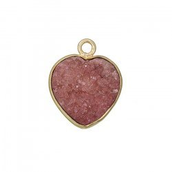 Gold Plated Druzy Quartz Heart Pendant Pink 16mm - PK1