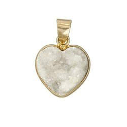 White Druzy 16mm Heart Shaped Pendant Gold Plated (PK1)