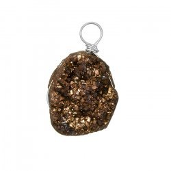 Electroplated Bronze Druzy Pendant Wire Wrapped 16x20mm