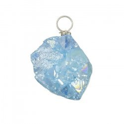 Druzy Pendant Wire Wrapped Electroplated Blue (16x20mm)
