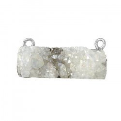 Druzy White Rectangle Connector Charm Black Plated 30mm