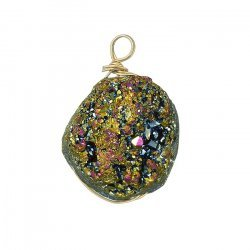Druzy Wire Wrap Pendant Electroplated Peacock (16x20mm)