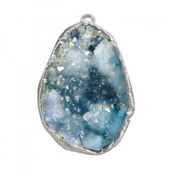 Druzy Geode Blue Silver Plated Dropper Pendant 20x30mm