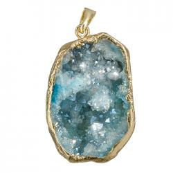 Druzy Geode Gold Plated Blue Dropper Pendant (20x30mm)