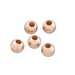 Rose Gold Vermeil 5mm Plain Round Beads 2.2mm Hole PK5