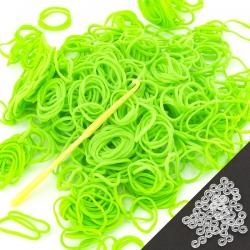 600 Green Apple Scented Loom Bands Incl. Hook & S-Clips