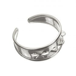 Sterling Silver Adjustable Charm Ring With 5 loops 18mm