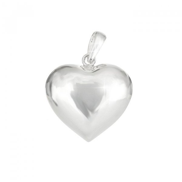 925 Sterling Silver Puffed Heart Pendant With Bail 18mm