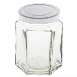 8oz Bead Storage Hexagonal Clear Glass Jar 9x6cm PK1