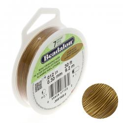 "Beadalon 7 Strand Bead Wire 0.012"" Dia. Satin Gold 30ft"