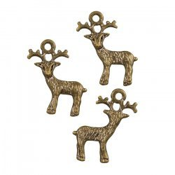 Antique Brass Small Reindeer Pendant Charms 22x19mm PK3