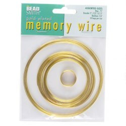 Beadsmith Memory Wire Gold Plated 10 Loops 5 Sizes