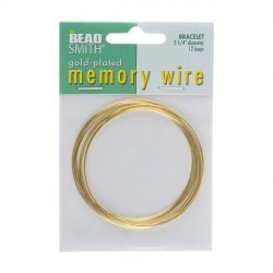 Memory Wire Bracelet Gold Plated 12 Turns 2.25