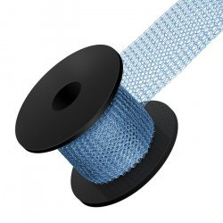 Knitted 0.1mm Copper Wire Mesh 15mm Width Blue 1 Metre