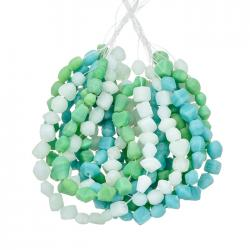 3 Strand Turquoise Green & Clear Matte Glass Chip Beads