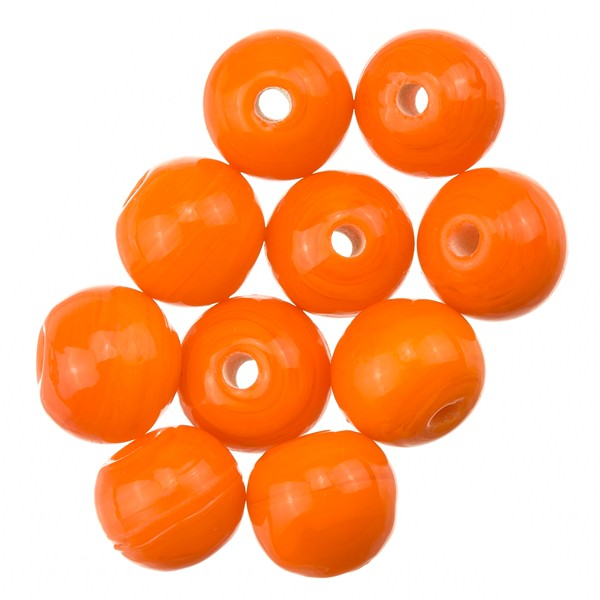 Shiny Orange Round Glass Beads 8mm PK10