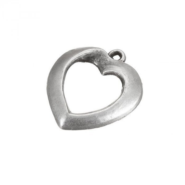 E89//10 Pack of 1 Antique Silver Cut-Out Heart Charm Metal Pendant 23x28mm