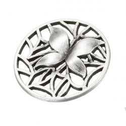 Antique Silver Butterfly Round Charm Pendants 35mm PK1