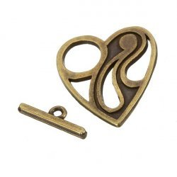Antique Brass Cut-Out Heart Toggle Clasp 25x29mm PK1
