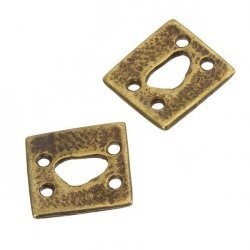 Antique Gold Flat Square Four Holes Connector 17mm PK2
