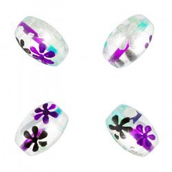 Purple And Blue Flower Clear Oval Glass Bead 18mm PK4