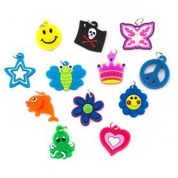 Assorted Loom Band Rubber Charms With Jump Rings PK12