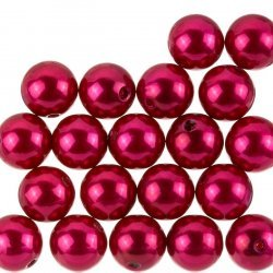 Acrylic Pearl Beads Round Chunky Red (14mm) Pack of 20