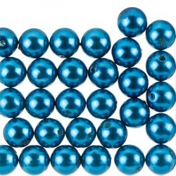 Acrylic Pearl Beads Round 12mm Shiny Teal (Pack of 30)