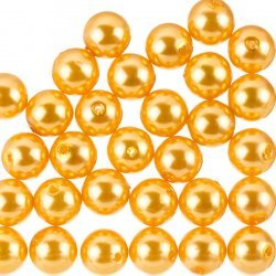 Acrylic Pearl Beads Round Orange Chunky 12mm Pack of 30