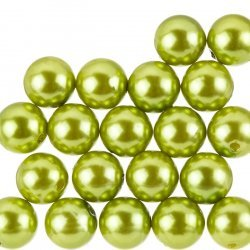 Acrylic Pearl Beads Round 14mm Olive Green (Pack of 20)