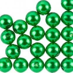 Acrylic Pearl Beads Round Forest Green 14mm Pack of 20
