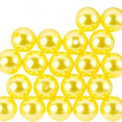 Acrylic Pearl Beads Round Shiny Yellow 14mm Pack of 20