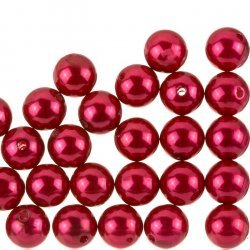 Acrylic Pearl Beads Round 12mm Chunky Red – Pack of 30