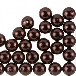 Acrylic Pearl Beads Round 12mm Dark Brown - Pack of 30