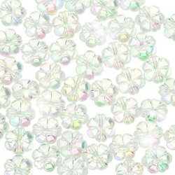 Acrylic Flower Pony Beads 10mm Trans. (Clear AB) PK50