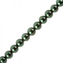 "10mm Glass Pearl Beads Round Dark Green - On 16"" Strand"